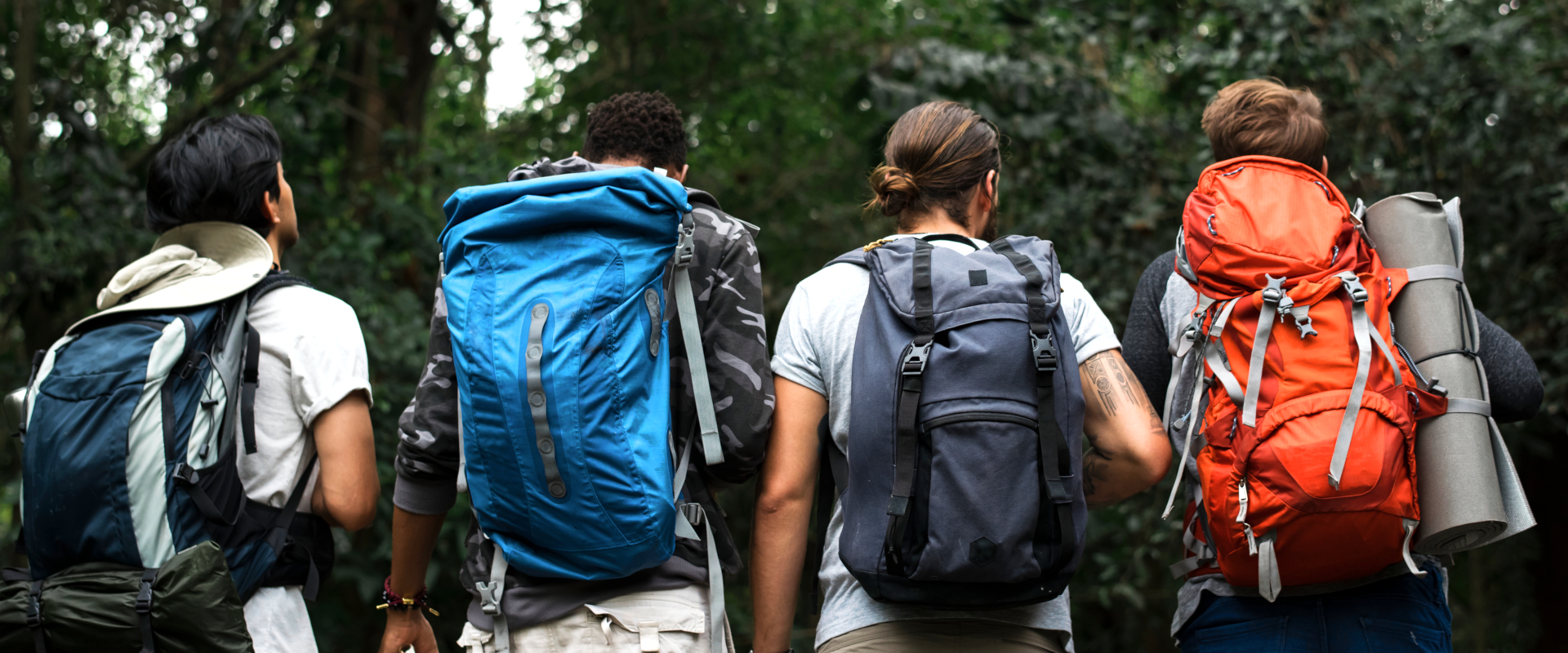 Trekking together in a forest