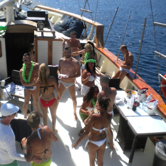 Group of turist sailing on the Islands of Capri, Ischia and Procida