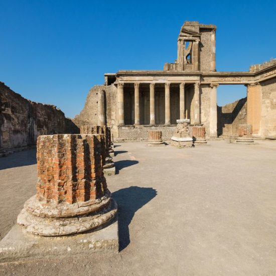 Ruins of the ancient roman city of Pompeii, which was destroyed by volcano, Mount Vesuvius, about two millenniums ago, 79 AD