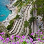 Capri island, famous road Via Krupp on the mountains.