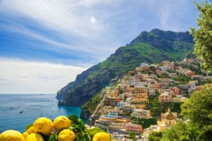 View of the town of Positano with lemons, Amalfi Coast, Italy