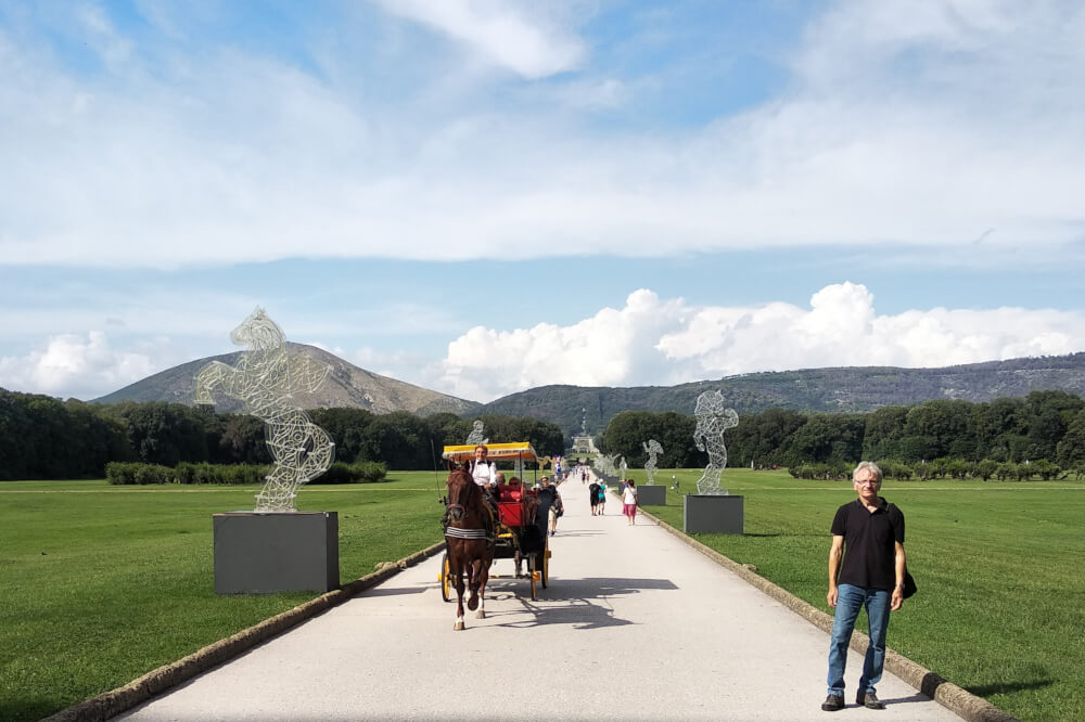 carriage with horses in the Royal Palace in Caserta