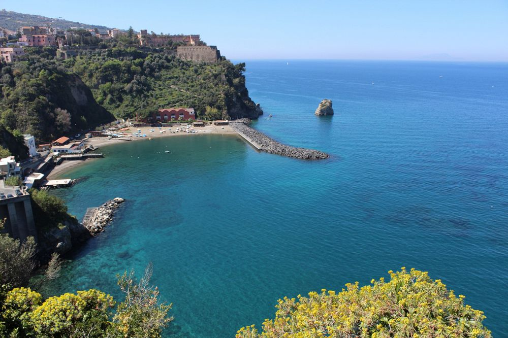 View of Sorrento Coast, Vico Equense in Italy.